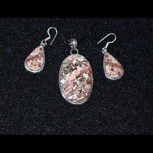 handmade & handcrafted genstone jewelry Jewelry - Leopardite Pendant & Earrings Set